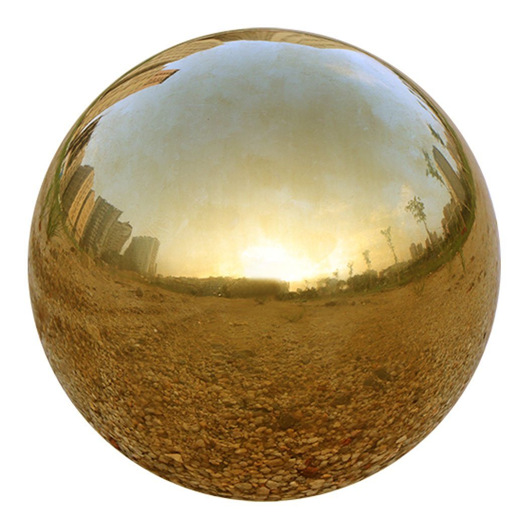 UShodor Gold Stainless Steel Gazing Ball, Durable Hollow Ball Mirror Globe Polished Shiny Sphere for Home Garden (8 Inch)