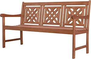 Vifah Crystal Outdoor 5-foot Eucalyptus Bench, Red brown