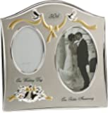 Two Tone Silver Plated 50th Golden Anniversary Double Picture Frame By Haysom Interiors