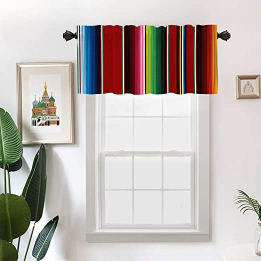 Batmerry Ethnic Mexican Colorful Kitchen Valances Half Window Curtain Stripes Pattern Party Decor Ethnic Mexican Fabric Kitchen Valances For Windows Valance For Decor Reducing The Light 52x18 Inch Home Kitchen