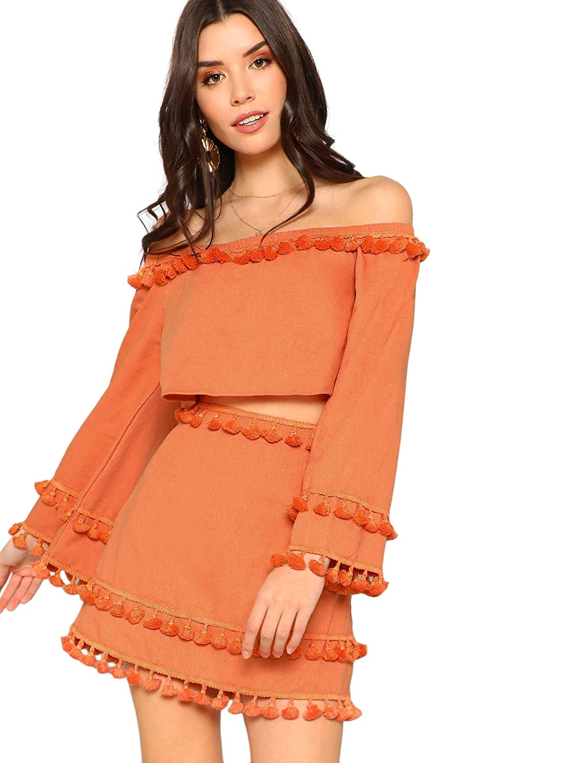 f53f785ab99b8 SheIn Women's 2 Piece Outfit Fringe Trim Crop Top Skirt Set at Amazon  Women's Clothing store:
