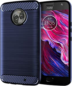 Motorola Moto X4 Case,Slim Thin Soft Skin Silicone Flexible TPU Anti-Scratches Shock Absorption Lightweight Carbon Fiber Pattern Protective Cases Cover for Moto X4 (Navy)