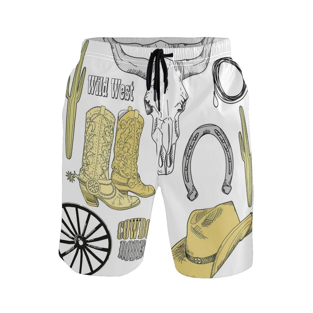 COVASA Mens Summer ShortsCowboy Riding Horse Rider Rope Sport Country Western