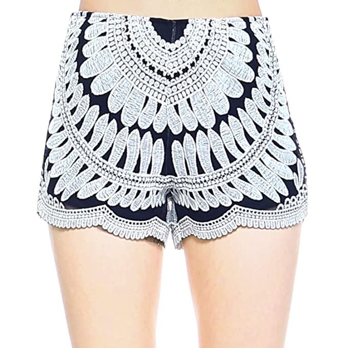 Fashionazzle Womens Casual Summer Beach Shorts Solid Shorts Lace