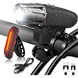 Bright 1200 Lumen USB Rechargeable Bike Bicycle Headlight Front Back lights Set~