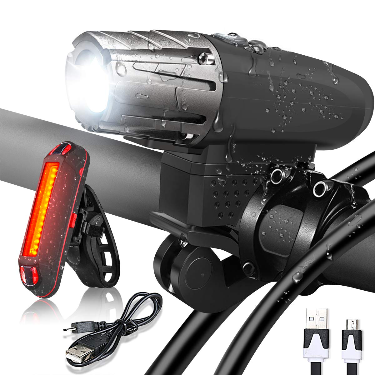 Bike Light - USB Rechargeable Bicycle Light Set - Super Bright LED Headlights and Tail Lights for Mountain Bike and Road Bike Cycling Safety - Fits for Hybrid, Road, MTB for Night Sports