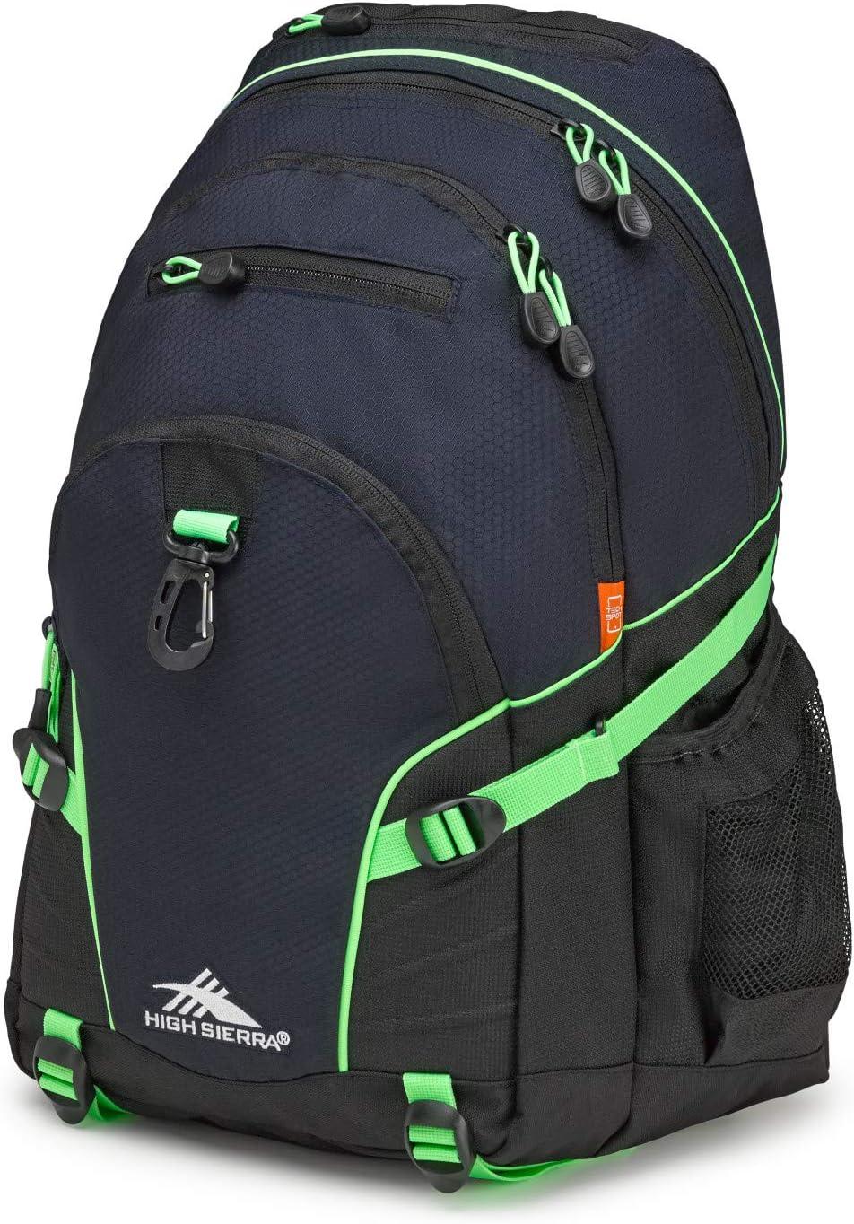 High Sierra Loop Backpack, 19 x 13.5 x 8.5-Inch, Midnight Blue/Black/Lime