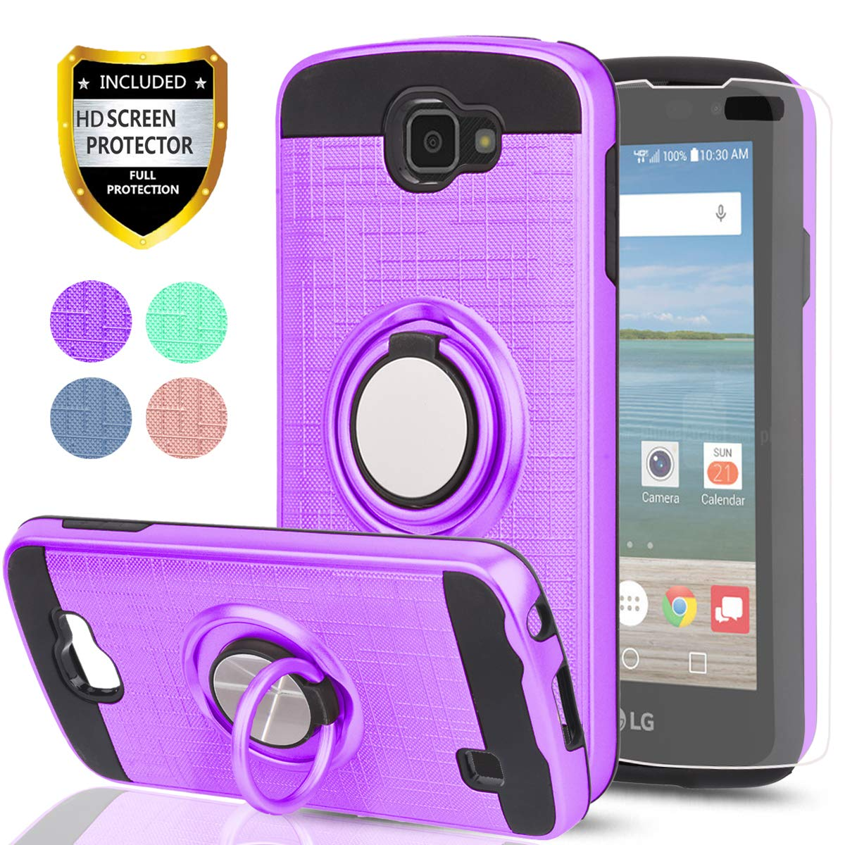YmhxcY LG Optimus Zone 3 Case, LG Spree Case,LG Rebel LTE Case with HD Phone Screen Protector, 360 Degree Rotating Ring & Bracket Dual Layer Resistant Back Cover for LG K4 (2016)/VS425-ZH Purple
