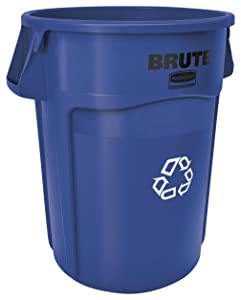 Rubbermaid Commercial Products FG264307BLUE BRUTE Heavy-Duty Round Recycling/Composting Bin, 44-Gallon, Blue Recycling