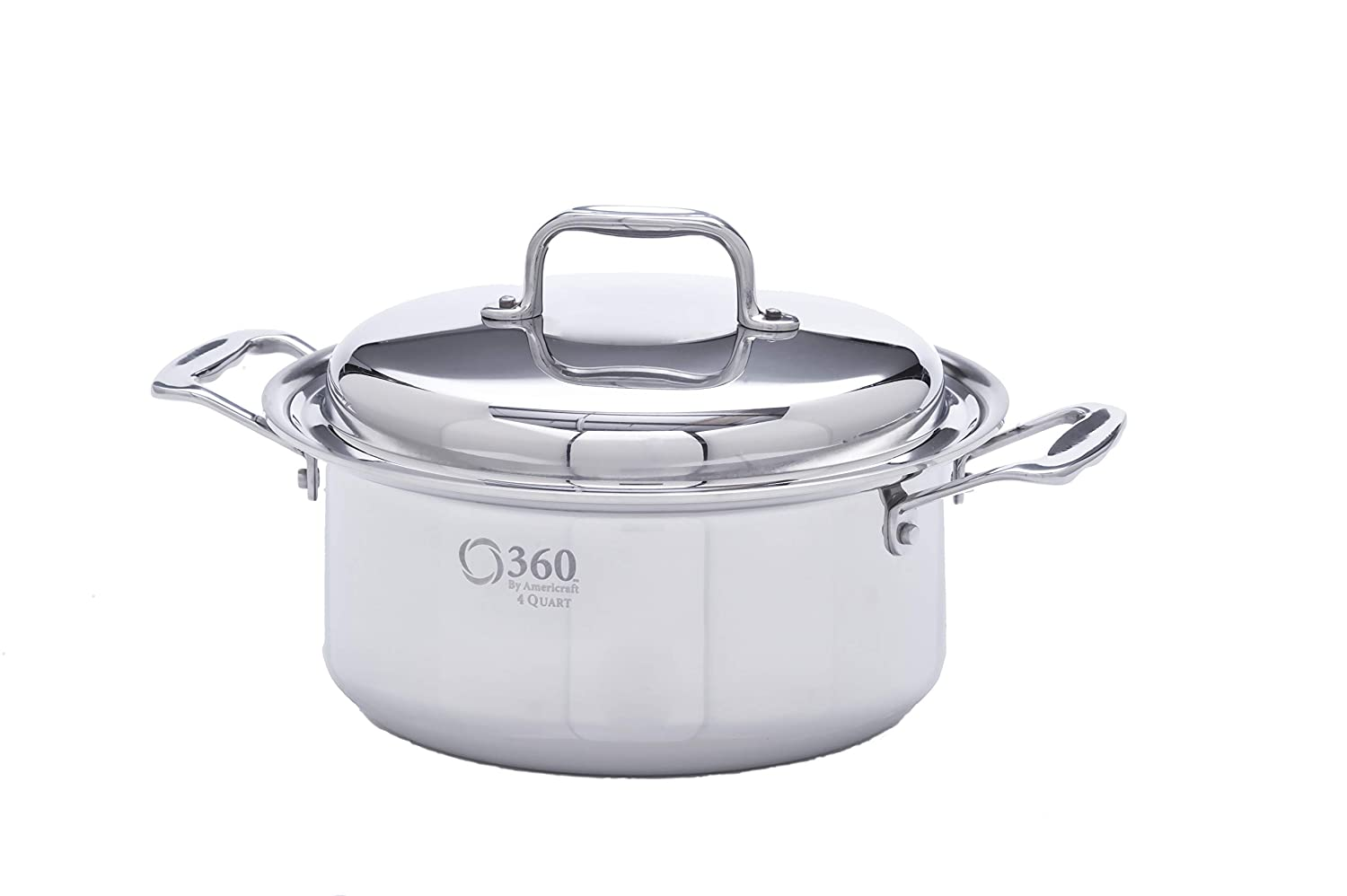 360 Stainless Steel Cookware 4 Quart Saucepan with Lid. American Made, Induction Cookware, Waterless Cookware, Dishwasher Safe, Oven Safe, Professional Grade