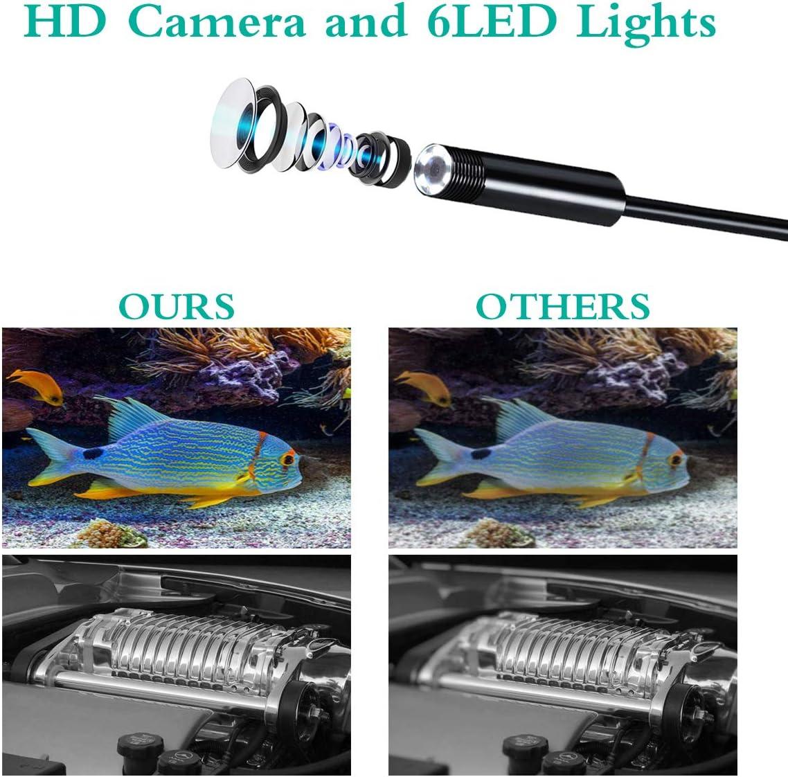 HKBTCH Endoskop, USB Android Endoskopkamera 7mm 720P HD Zoombares Autofokus Inspektionskamera mit 6 LED,IP67 Wasserdicht Halbstarre Flexible Kanalkamera und Schlange Kabel 5M