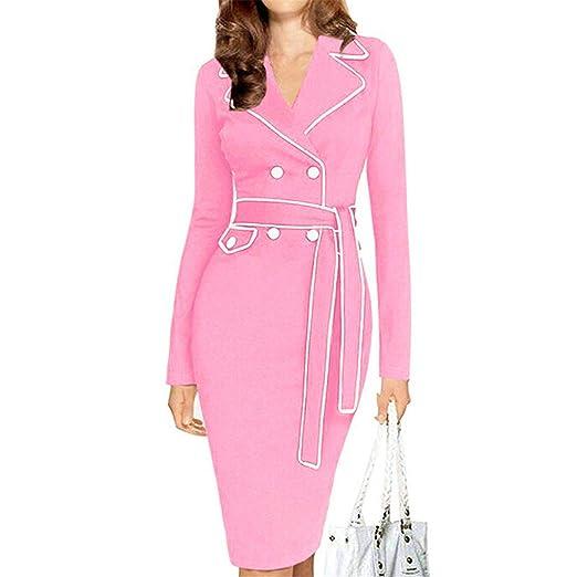 Amazon.com: Eloise Isabel Fashion dress mulheres turndown collar cintura do vintage botões de manga longa bodycon dress vestidos de festa escritório dress: ...