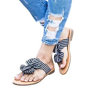 6188fda41 Womens Sandals Flat Stripped Bow Slider Gladiator Open Toe Thong Flip Flop  Casual Summer Shoes
