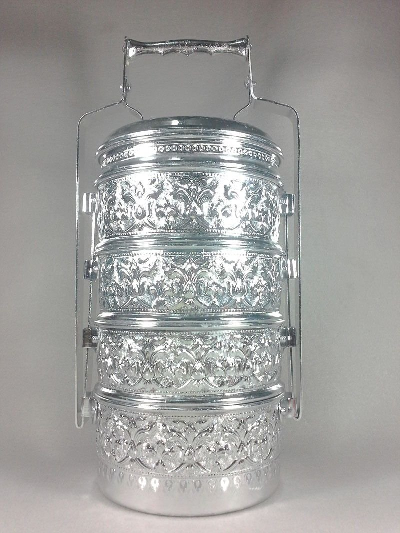 THAI ALUMINIUM 16 CM CONTAINER SILVER PINTO 4 STACK LUNCH BOX TIFFIN COLLECTIBLE