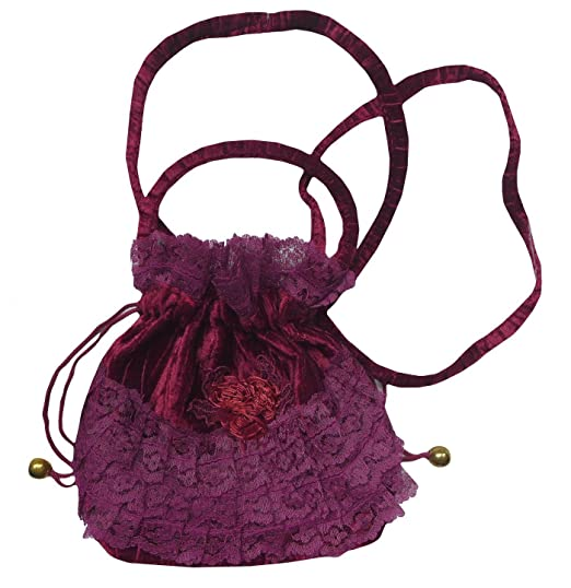 Vintage & Retro Handbags, Purses, Wallets, Bags Classic Beautiful Victorian Gothic Velvet Lace Drawstring Evening Bag Halloween $23.99 AT vintagedancer.com