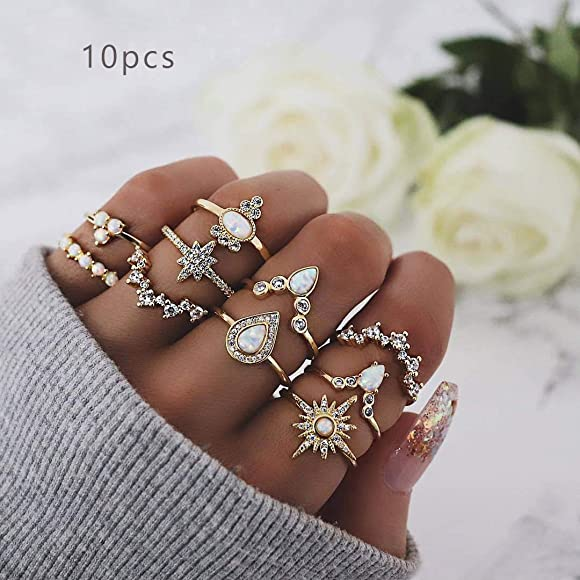 10pcs Boho Yoga Finger Knuckle Rings Band Midi Rings Stacking Rings Set Vintage
