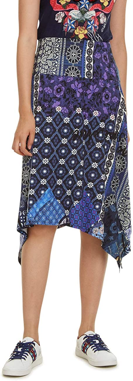 Desigual Skirt Knee Katherine Woman Blue Gonna Donna