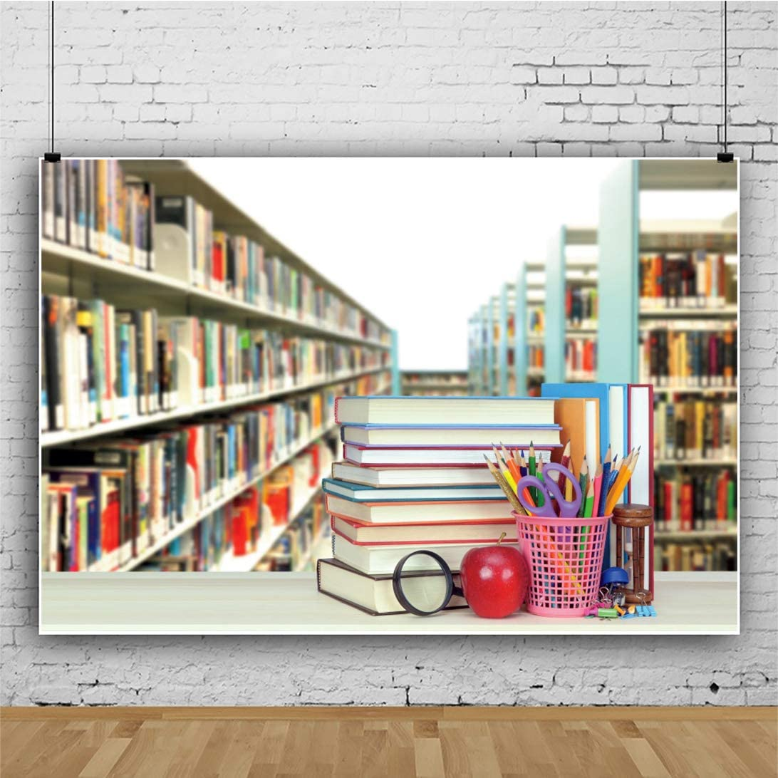 YEELE 9x6ft Bookstore Bookshelf Backdrop Modern Bookcase in Booksellers Shop Photography Background Back to School Knowledge Education Interior Decoration Kids Adults Portrait Photoshoot Studio Props