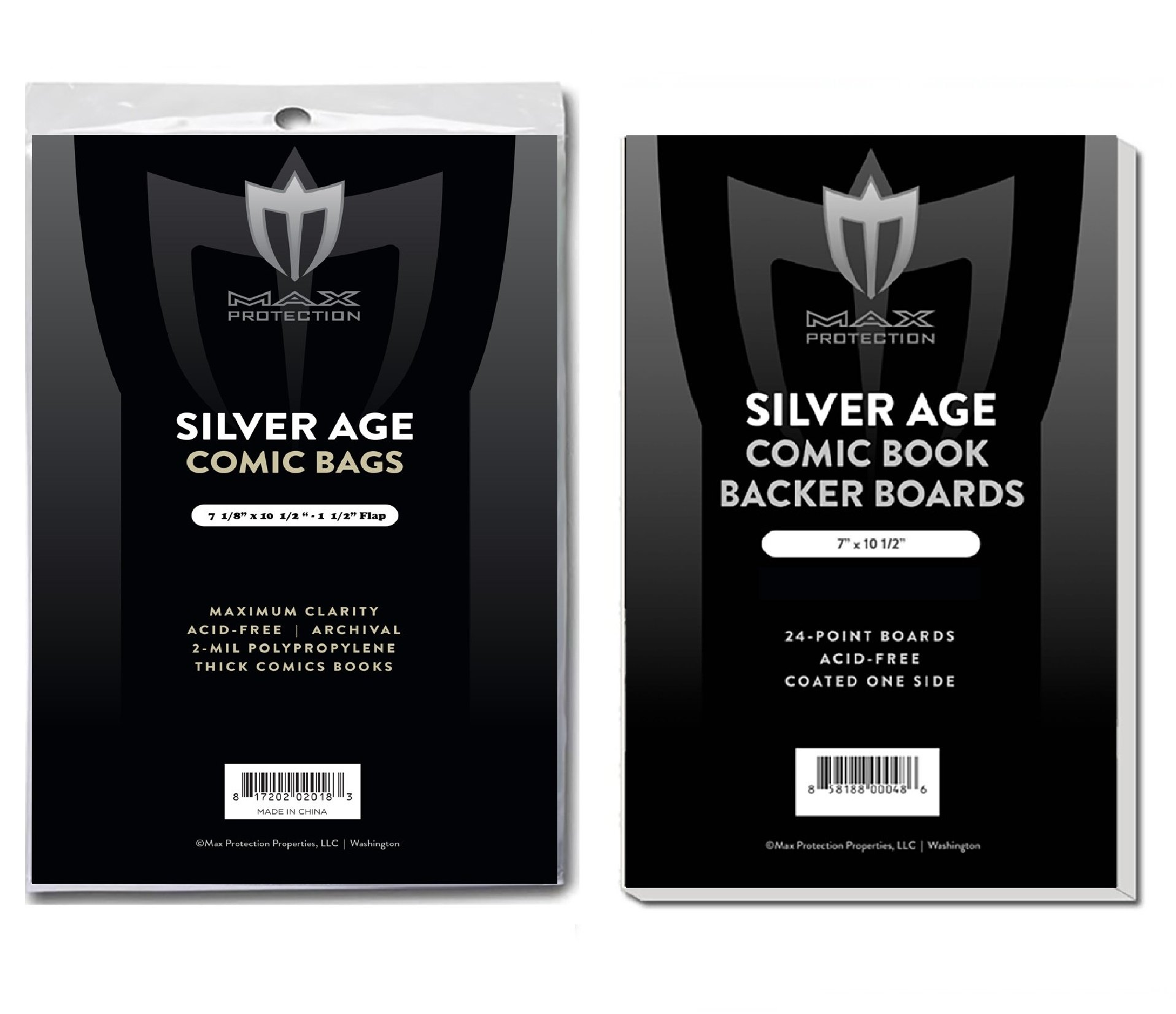 (1000) SILVER Size Ultra Clear Comic Book Bags and Boards - by Max Pro (Qty= 1000 Bags and 1000 Boards) by Max Protection