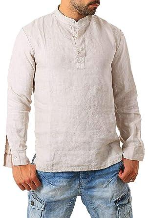 711c8f60acc9 Makkrom Mens Linen Cotton Henley Shirts Long Sleeve V Neck Casual Loose  Summer Beach Plain T
