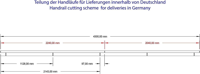 Acier inoxydable V2/A 42,4/mm 240/K Poli main courante main courante murale avec embout rond demi-sph/ère 500/mm