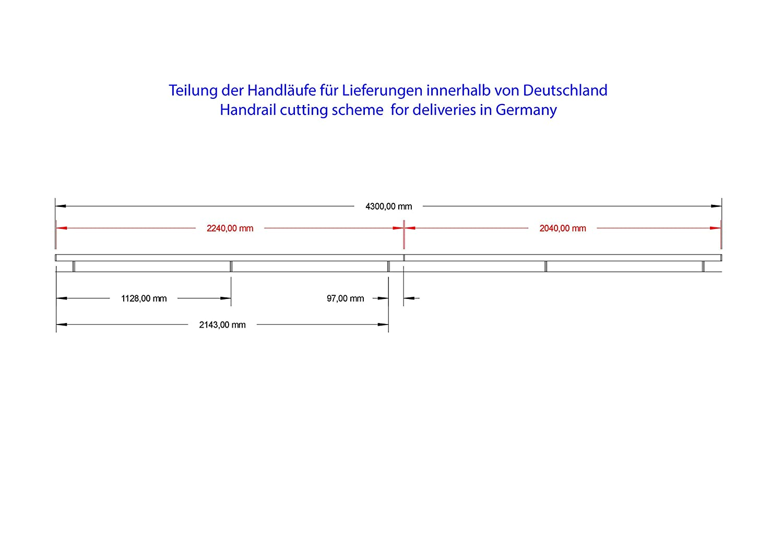 Acier inoxydable V2/A 42,4/mm 240/K Poli main courante main courante murale avec embout rond demi-sph/ère 2000/mm