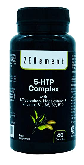 5-HTP Complex con L-triptófano, extracto de Lúpulo y vitaminas B1, B6, B9, B12, 60 Cápsulas, para el estado de ánimo, el sueño, el dolor, la ansiedad ...
