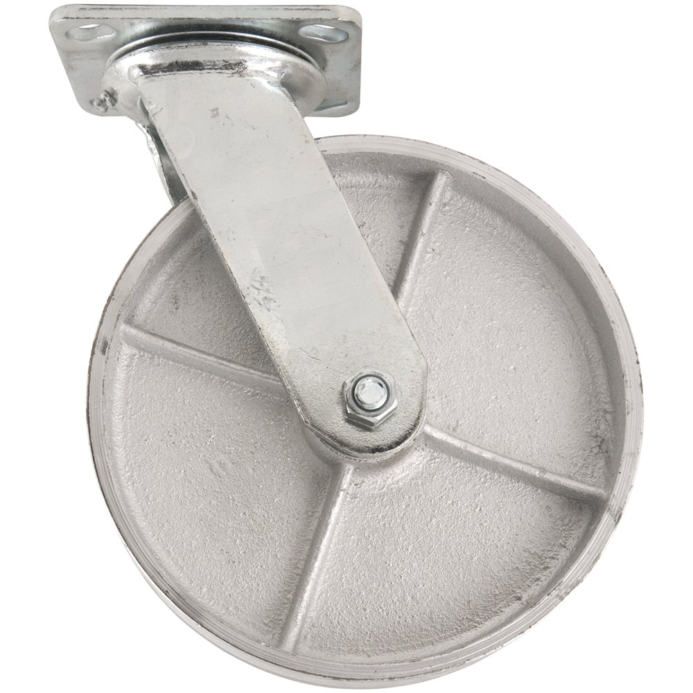 Steel Caster Wheel with Swiveling Top Plate  - 8-Inch -  1050 lb. Load Capacity  -  Great for Stationary Loads that are Not Frequently Moved