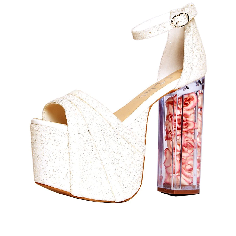 Charla Tedrick Lucille, Glitter platform sandal B06Y5T8MXF 9 B(M) US