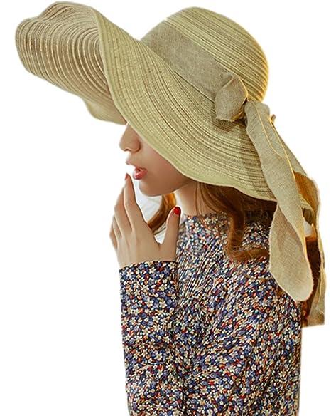 d2ed53c5 Aoli's Fashion Womens Bowknot Sun Hat Striped Straw Hat Floppy Big Brim Hat  Beach Cap UPF 50+ (Beige) at Amazon Women's Clothing store: