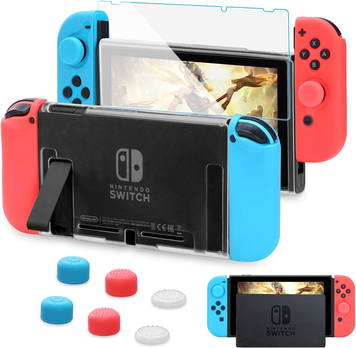 HEYSTOP Carcasa Nintendo Switch, Funda Nintendo Switch con Protector de Pantalla para Nintendo Switch Console y Joy Cons con 6 Agarres para el Pulgar(Transparente): Amazon.es: Electrónica