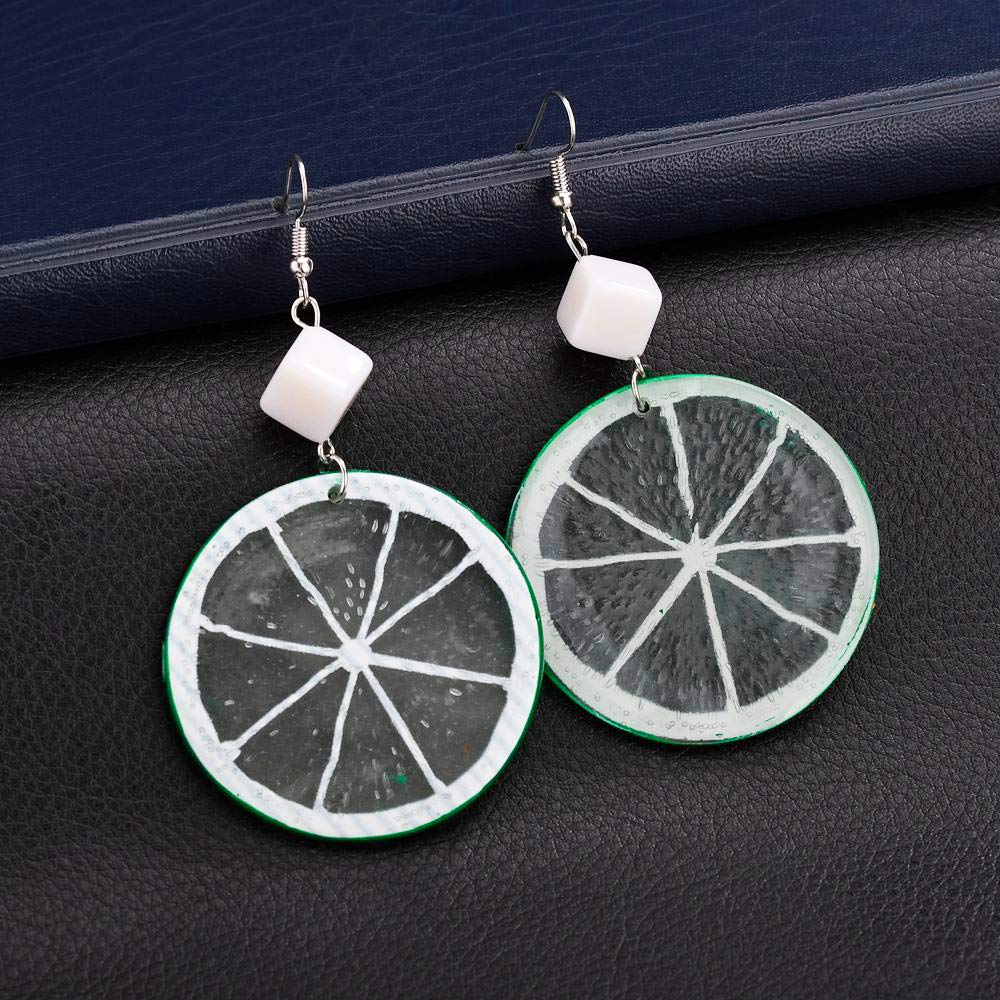 YOOE Geometric Cube Circle Tangerine Slices Lemon Dangle Earrings,Colorful Acrylic Fruits Pendant Earrings for Women Girls Birthday Gifts
