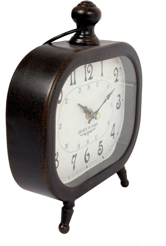 Truu Design Vintage Distressed Metal Oval Desk Clock Black 8 x 9 inches