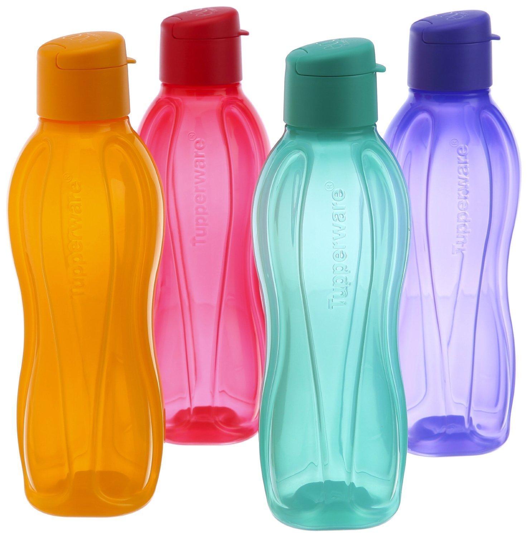 Tupperware Eco Sports Water Bottle Flip Top 1 Ltr 4pcs