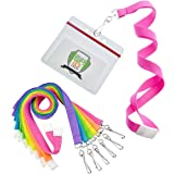 12 Pack - Premium Bright Neon Lanyards with Breakaway Clasp & Heavy Duty Ziplock Badge Holder by Specialist ID (Horizontal, Assorted Colors)