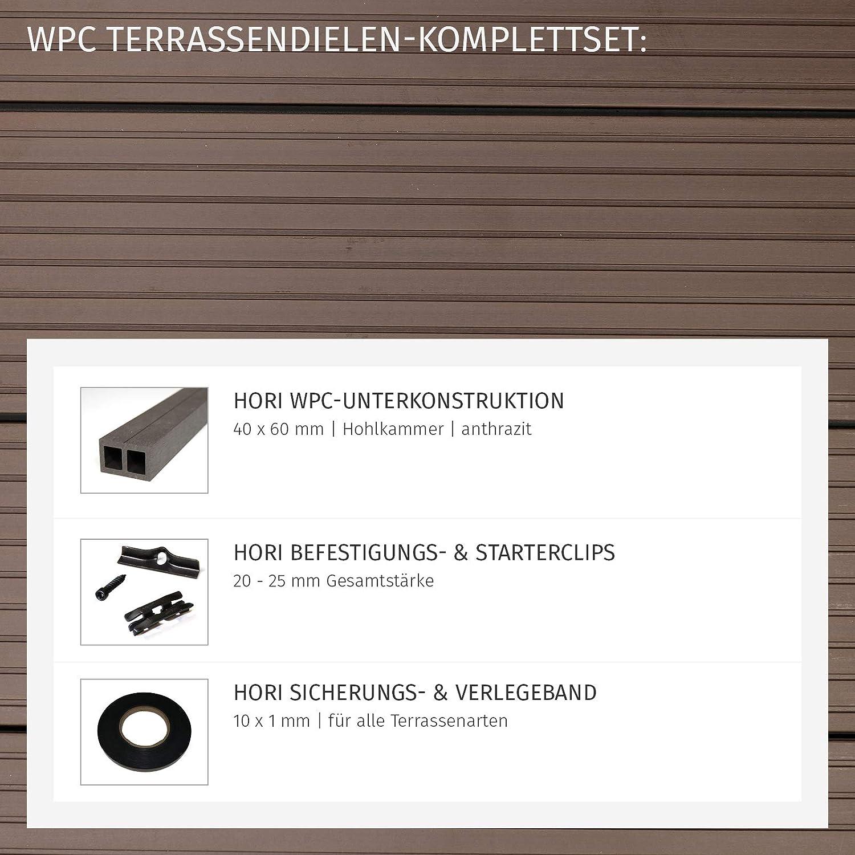 HORI/® WPC-Terrassendiele Malta Braun Hohlkammer I Komplettset inkl 1 Muster I Muster Dielenl/änge 40x60 mm Unterkonstruktion /& Clips I Fl/äche