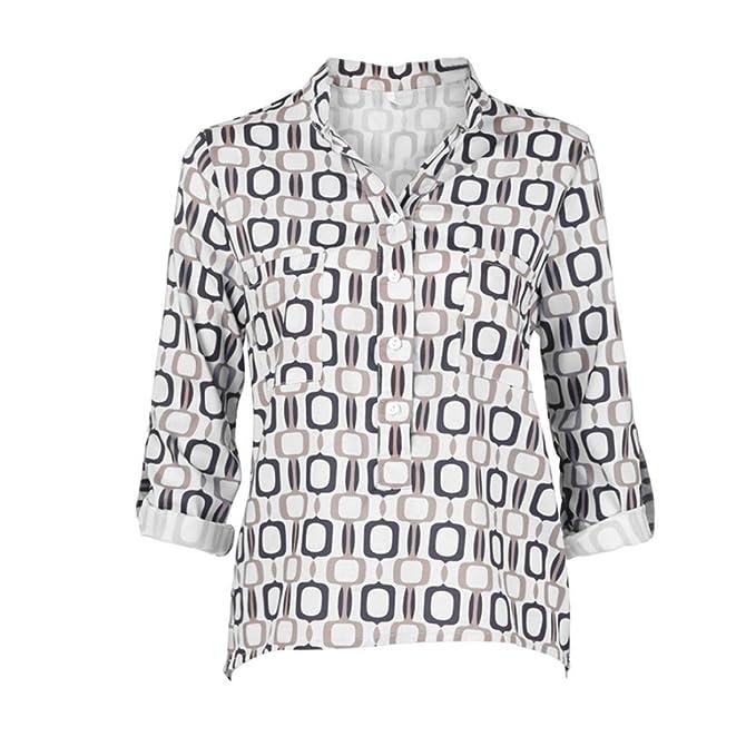 d2f023abf5 Sannysis Mujer Cuello en V Mangas largas Geometría de impresión Talla Extra  Tops Suelto Blusa Mujeres