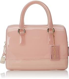 360e46676ae Amazon.com: Furla Camilla Saffinao Leather Small Satchel, Gloss Pink ...