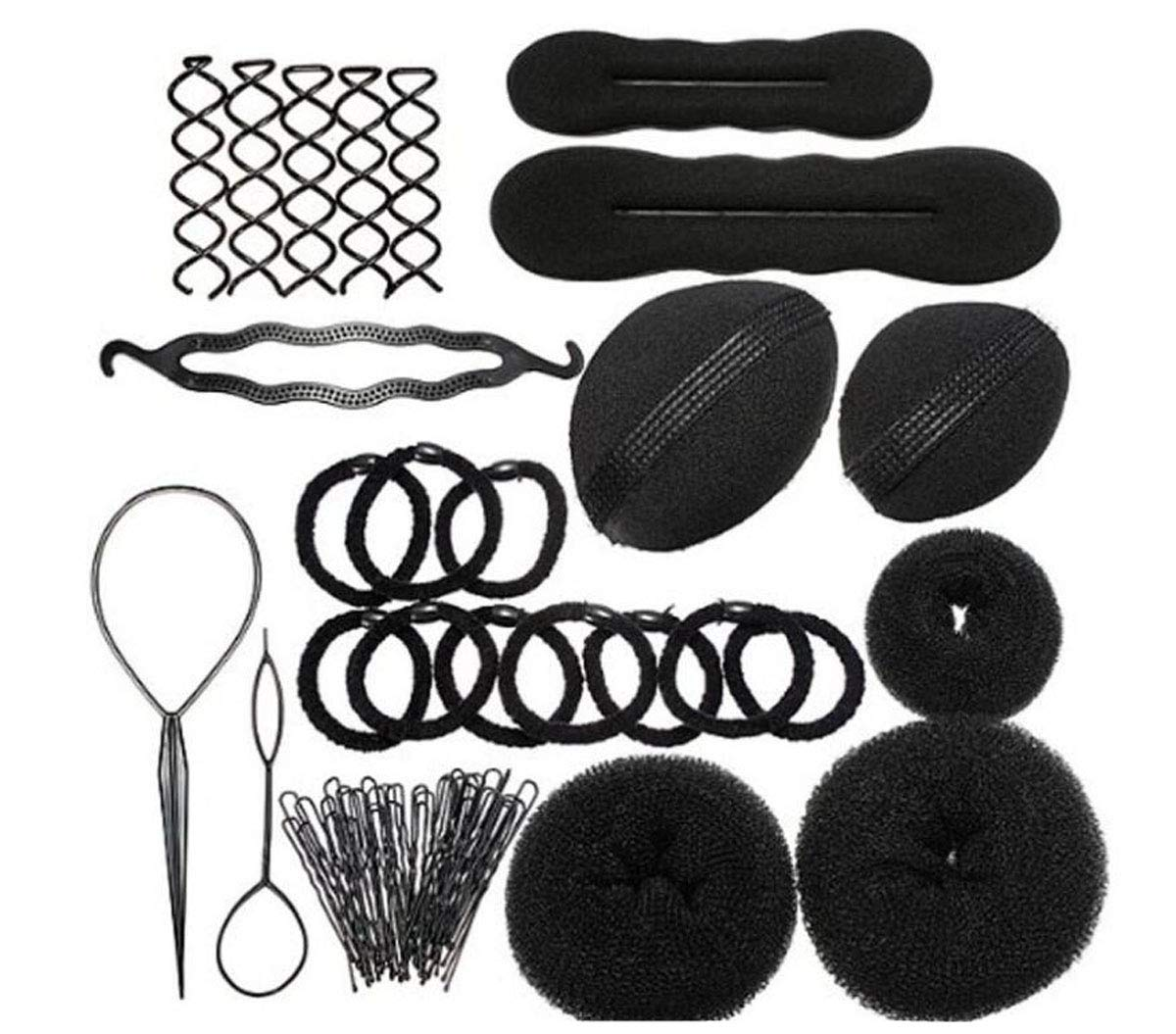 1Set As picture Shown Elastic Hair Donut Roll Ring Tie Ropes Hairpins Pin Barrette Rubber Band Hair Bun Insert Volume Bump Up Maker Clip Comb Braid Ponytail Holder Twist Hairband Updo Chignon Former Pads DIY Hair Style Styling Braiding Tool Accessories TUP