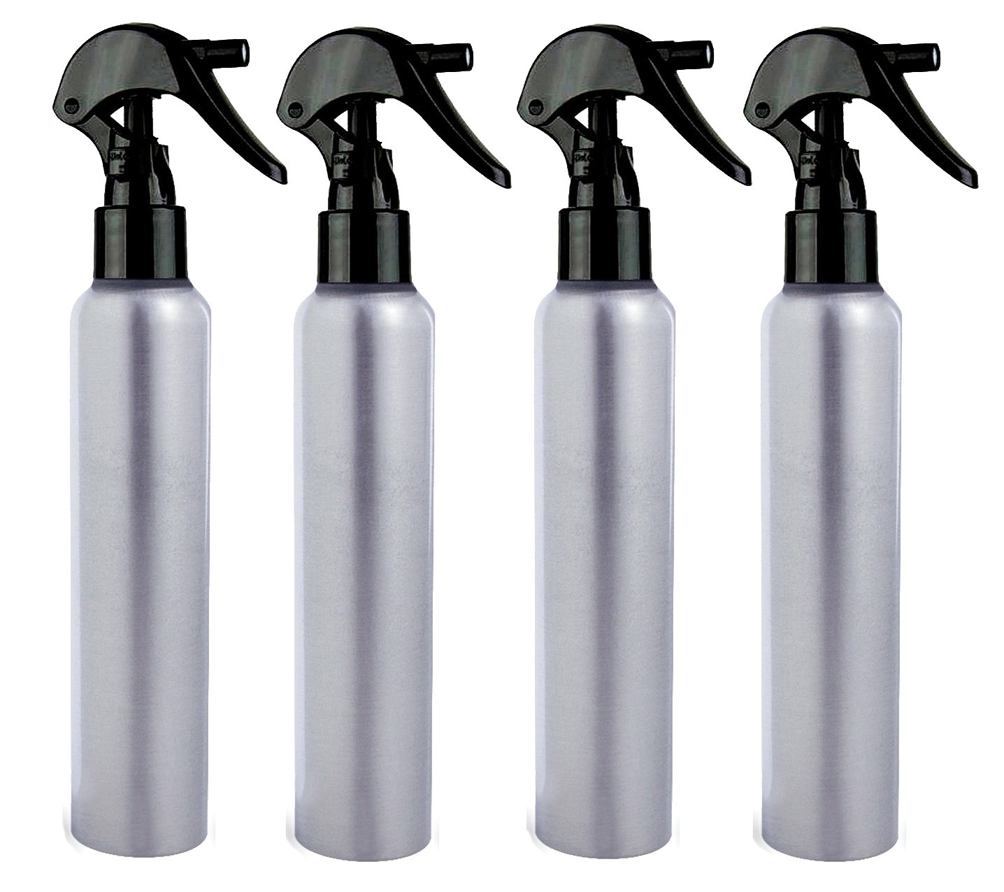 All Aluminum Spray Bottles 4 oz Mister with Fine Mist Black Trigger Sprayer, 4-Pack with Different Choice of Tops & Free Perfume Studio Sample Fragrance (4oz, Black Trigger Sprayer) by Perfume Studio (Image #1)