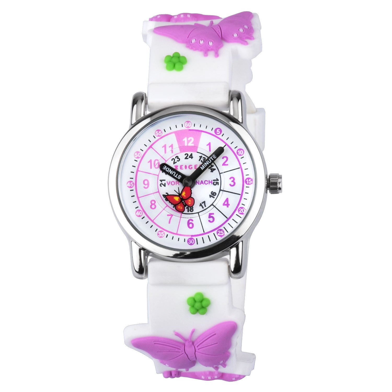 Zeiger Toddler Fashion Children Kids Watches Girls Age 5 7 10 Time Teacher, Cartoon Character 3D Butterfly Silicone Band -Purple