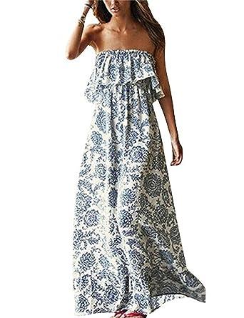 3826a2e91f67c Vestidos Verano Mujer Largos Casual Elegantes Estampados Vintage Boho  Vestidos Playa Hombros Descubiertos Espalda Descubierta Sueltos Moda Maxi  Vestido ...