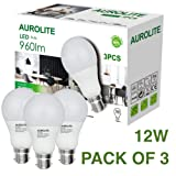 PACK OF 3 12W AUROLITE LED Bulbs, A60 12W B22 Day Light 6500K, Pack of 3, LED Bayonet Bulb, Ultra Bright 960LM, 75Watt Incandescent Bulbs Equivalent, 2 Years UK Warranty (A60 B22, 6500K)