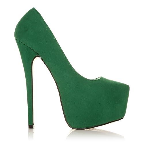 DONNA scarpe verdi tacchi a spillo altissimi camoscio sintetico plateau  decolleté - Camoscio verde 1887dfd0f03