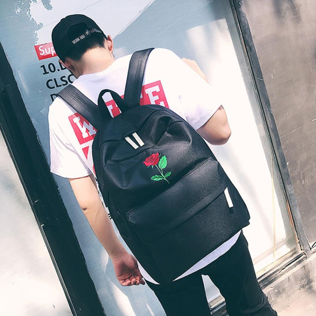 Amazon.com | Remiel Store Women Girls Embroidery Flowers Canvas School Bag Travel Backpack Bag (Black 1) | Kids Backpacks