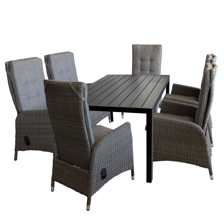 7tlg. Gartengarnitur Sitzgruppe Sitzgarnitur Terrassenmöbel Gartenmöbel Set - Gartentisch, Polywood-Tischplatte, 150x90cm, schwarz + 6x Gartensessel, Poly-Rattangeflecht, stufenlos verstellbare Lehne, grau/braun