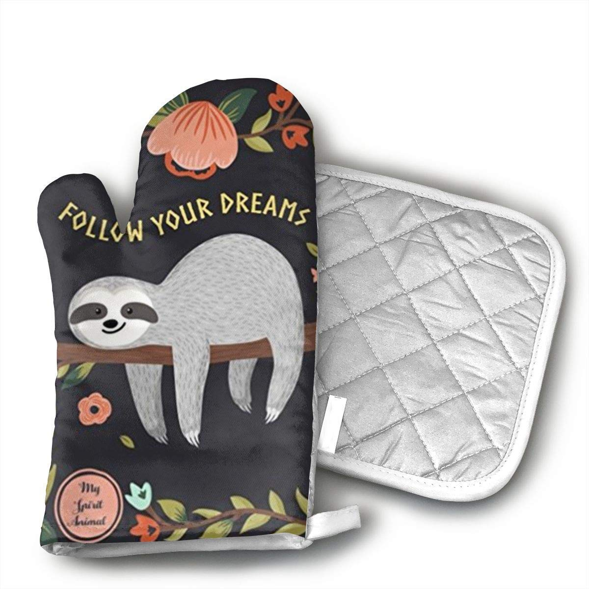 Follow Your Dreams Sloth My Spirit Animal Oven Mitts,Professional Heat Resistant Microwave BBQ Oven Insulation Thickening Cotton Gloves Baking Pot Mitts Soft Inner Lining Kitchen Cooking