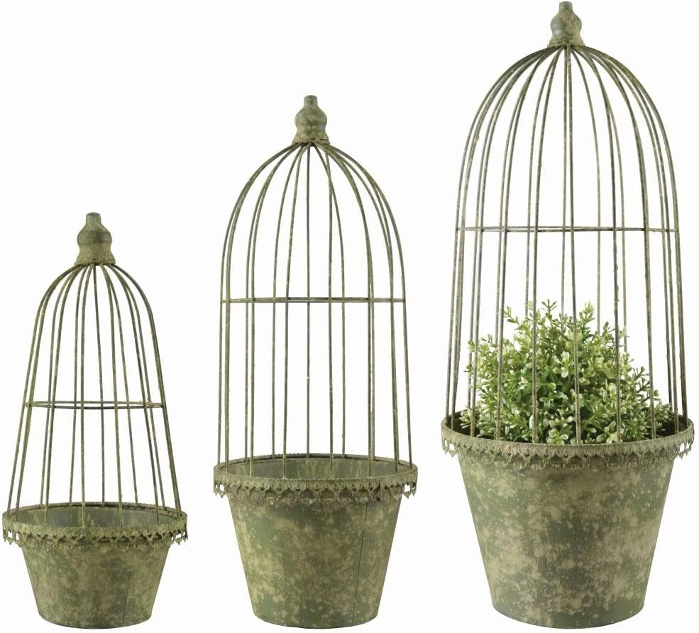 Esschert Design AM101 Aged Metal Flower Pots/Cloches, Green