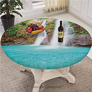Fitted Table Cloth Round With Pull ropeEdge with Pull Rope Customized Fits 30 Inch To 72 Inch Tables,Waterfall,Waterfall and Clear Natural Pool Plants Sunbeams Summer Day View,Aqua Green Light Brown