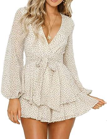 9a2725244 Amazon.com: Relipop Women's Polka Dot Jumpsuits Deep V-Neck Long Sleeve Knot  Front Ruffle Hem Rompers: Clothing